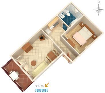 Jadranovo, Plan kwatery w zakwaterowaniu typu apartment, dopusteni kucni ljubimci i WIFI.