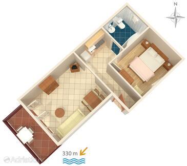 Jadranovo, Půdorys v ubytování typu apartment, domácí mazlíčci povoleni a WiFi.