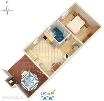 Jadranovo, Plan dans l'hébergement en type apartment, animaux acceptés et WiFi.