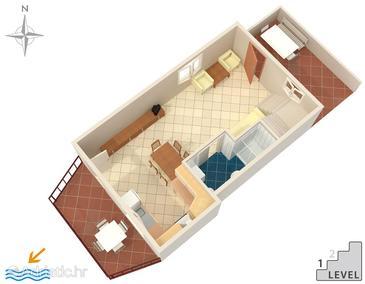 Duga Luka (Prtlog), Grundriss in folgender Unterkunftsart apartment, Haustiere erlaubt.