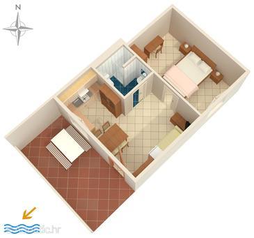 Duga Luka (Prtlog), Půdorys v ubytování typu apartment, domácí mazlíčci povoleni.