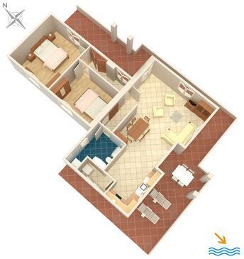 Kapelica, Plan kwatery w zakwaterowaniu typu house, zwierzęta domowe są dozwolone i WiFi.