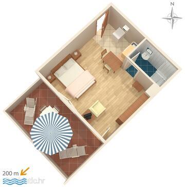Novi Vinodolski, Plan in the studio-apartment, WIFI.