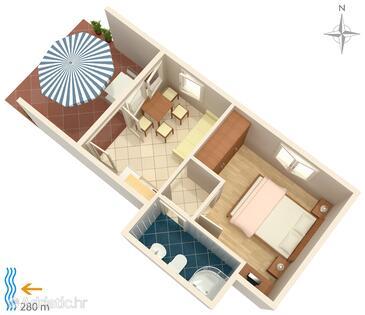 Klenovica, План в размещении типа apartment, WiFi.