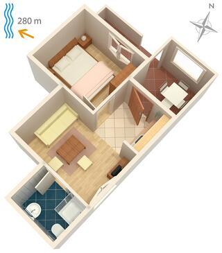 Klenovica, Půdorys v ubytování typu apartment, WiFi.