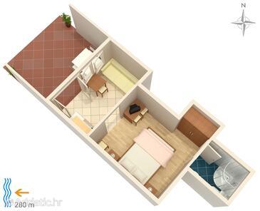 Klenovica, Plan kwatery w zakwaterowaniu typu studio-apartment, WiFi.