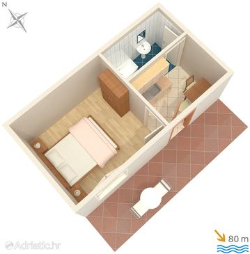 Milna, Plan in the studio-apartment, WIFI.