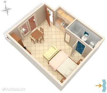 Selce, Půdorys v ubytování typu studio-apartment, WiFi.