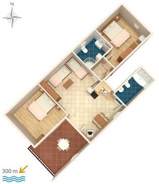 Senj, Půdorys v ubytování typu apartment, domácí mazlíčci povoleni a WiFi.