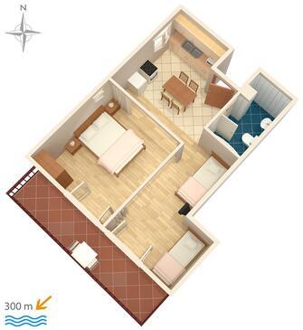 Senj, Plan kwatery w zakwaterowaniu typu studio-apartment, zwierzęta domowe są dozwolone i WiFi.