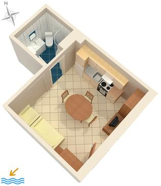 Senj, Plan in the studio-apartment, dopusteni kucni ljubimci i WIFI.