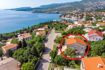 Klenovica, Novi Vinodolski, Szálláshely 5575 - Apartmanok a tenger közelében kavicsos stranddal.