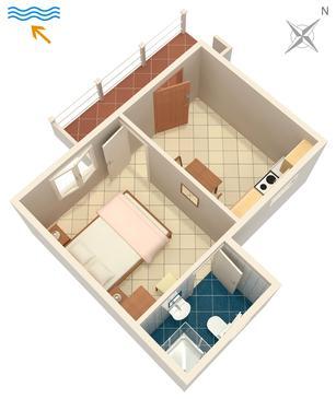 Tri Žala, Půdorys v ubytování typu apartment, domácí mazlíčci povoleni a WiFi.
