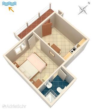 Tri Žala, Alaprajz szállásegység típusa apartment, háziállat engedélyezve és WiFi .