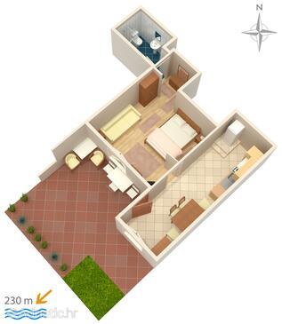 Novi Vinodolski, Plan in the apartment, dopusteni kucni ljubimci i WIFI.