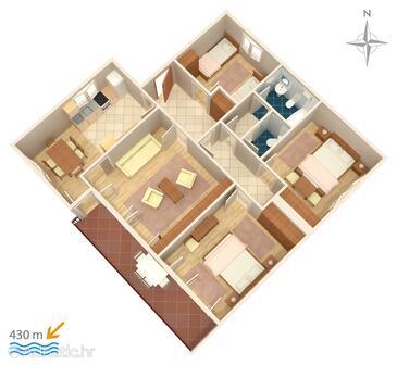 Novi Vinodolski, Plan in the apartment, WiFi.