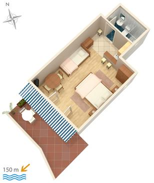 Crikvenica, Plan kwatery w zakwaterowaniu typu studio-apartment, WIFI.