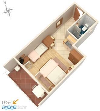 Crikvenica, План в размещении типа studio-apartment, WiFi.