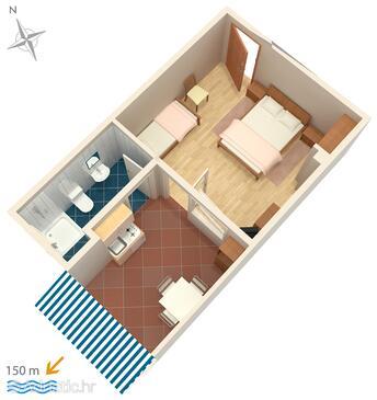 Crikvenica, Pôdorys v ubytovacej jednotke studio-apartment, WiFi.