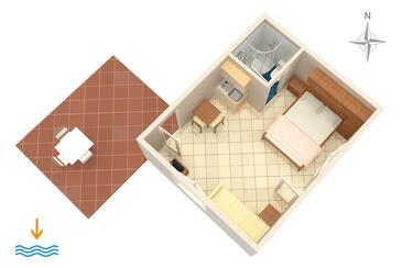 Dramalj, Plan kwatery w zakwaterowaniu typu studio-apartment, WIFI.