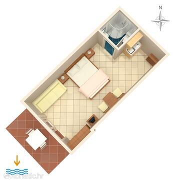 Dramalj, Plan in the studio-apartment, WIFI.