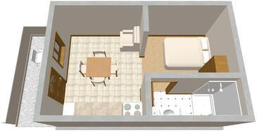 Tri Žala, Plan in the studio-apartment, dopusteni kucni ljubimci i WIFI.