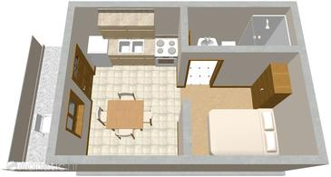 Tri Žala, plattegrond in the studio-apartment, (pet friendly) en WiFi.