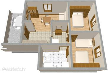 Brna, plattegrond in the apartment, (pet friendly).