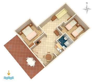 Novi Vinodolski, Plan in the apartment, dopusteni kucni ljubimci.