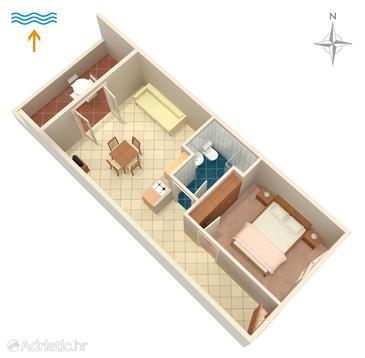 Postira, Půdorys v ubytování typu apartment, domácí mazlíčci povoleni a WiFi.
