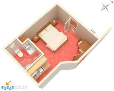 Bol, Plan in the studio-apartment, WIFI.