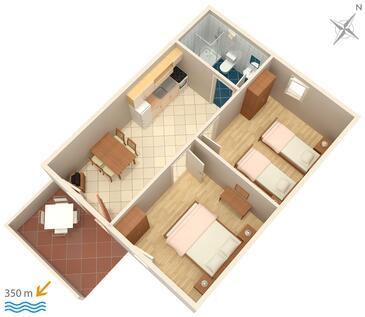 Bol, Plan kwatery w zakwaterowaniu typu apartment, dopusteni kucni ljubimci i WIFI.