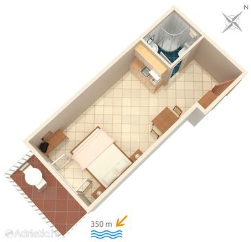 Bol, Plan in the studio-apartment, (pet friendly) and WiFi.