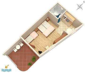Bol, Plan kwatery w zakwaterowaniu typu studio-apartment, dopusteni kucni ljubimci i WIFI.