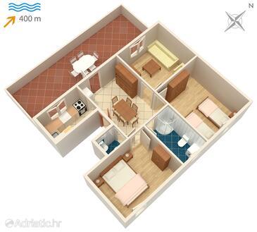 Supetar, Půdorys v ubytování typu apartment, WiFi.