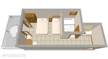 Sućuraj, Plan in the studio-apartment, WIFI.
