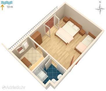 Uvala Lozna, Plan in the studio-apartment.