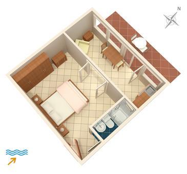 Jelsa, Plan kwatery w zakwaterowaniu typu apartment, dopusteni kucni ljubimci i WIFI.