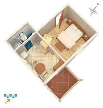 Jelsa, Plan in the studio-apartment, dopusteni kucni ljubimci i WIFI.