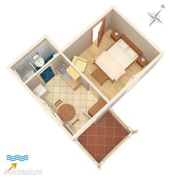 Jelsa, План в размещении типа studio-apartment, Домашние животные допускаются и WiFi.