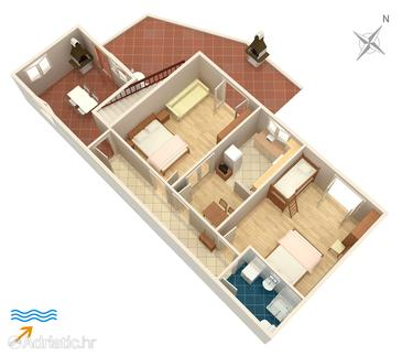 Jelsa, plattegrond in the apartment, (pet friendly) en WiFi.