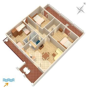 Jelsa, Pôdorys v ubytovacej jednotke apartment, domáci miláčikovia povolení a WiFi.