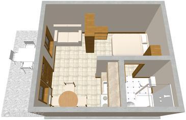Žrnovska Banja, Plan in the studio-apartment.