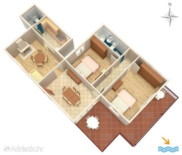 Korčula, Plan in the apartment, (pet friendly) and WiFi.