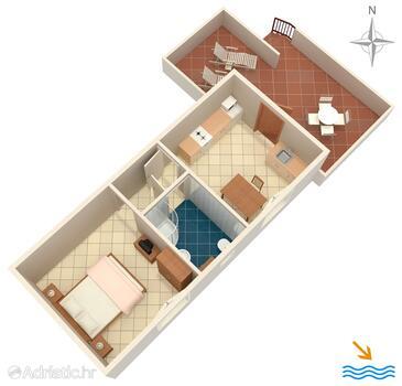 Korčula, План в размещении типа apartment, Домашние животные допускаются и WiFi.