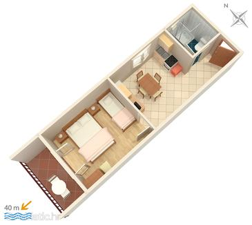 Brna, Plan dans l'hébergement en type apartment, WiFi.