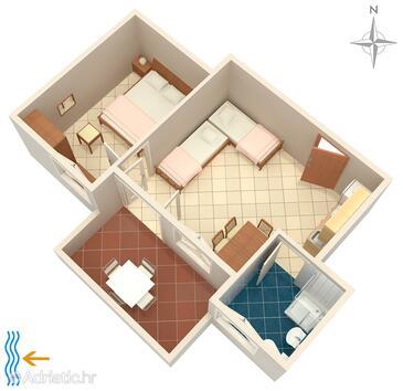 Bibinje, План в размещении типа studio-apartment, WiFi.