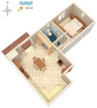 Ražanac, Pôdorys v ubytovacej jednotke apartment, dopusteni kucni ljubimci i WIFI.