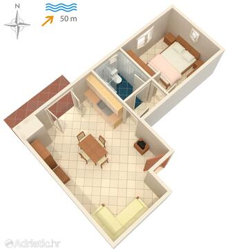 Ražanac, plattegrond in the apartment, (pet friendly) en WiFi.