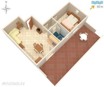Ražanac, Půdorys v ubytování typu apartment, domácí mazlíčci povoleni a WiFi.